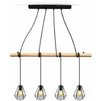 B.K.Licht suspension design pour 4 ampoules E27 max 60W, chandelier vintage bois métal, hauteur réglable, éclairage salon salle à manger, style rétro