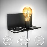 Applique murale réglable luminaire mural rétro lampe de chevet avec étagère interrupteur finition noire matte