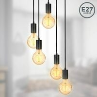 B.K.Licht suspension vintage, 5 douilles E27 d'hauteur différente, noir mat, éclairage plafond rétro, design industriel, Ø210, hauteur totale 1200mm
