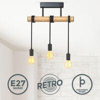 B.K.Licht I Lampe pendante à 3 flammes I métal et bois I E27 I noir mat I lampe pendante vintage I lampe pendante rétro I sans ampoule