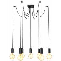 B.K.Licht suspension design industriel lustre minimaliste rétro-vintage I plafonnier pour 7 ampoules I réglable en hauteur I livré sans ampoules