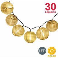 Guirlande lumineuse extérieure LED, guirlande solaire longueur 6m, 30 lampions LED solaires, IP44, décoration jardin terrasse balcon, capteur crépusculaire