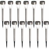 B.K.Licht set de 12 lampes solaires LED pour l'extérieur I Ø55 mm I IP44 I allumage/extinction automatique I lampe de jardin I lampe jardin avec piquet I lampe solaire