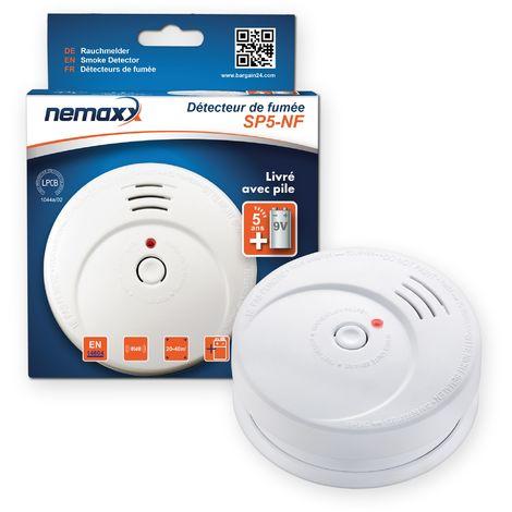 1x Détecteur de fumée de haute qualité Nemaxx SP5 NF - fonctionnant sur batterie - pile alcaline 9V - blanc