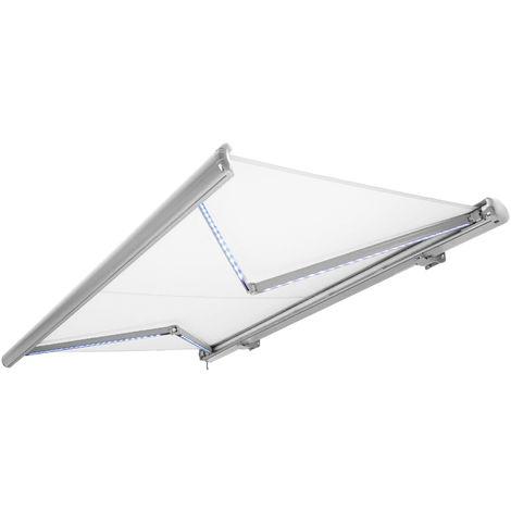 Store banne motorisé de NEMAXX avec LED, coloris de la toile blanc, couleur de la structure blanche, télécommande, imperméable à l'eau, 3,5x3m