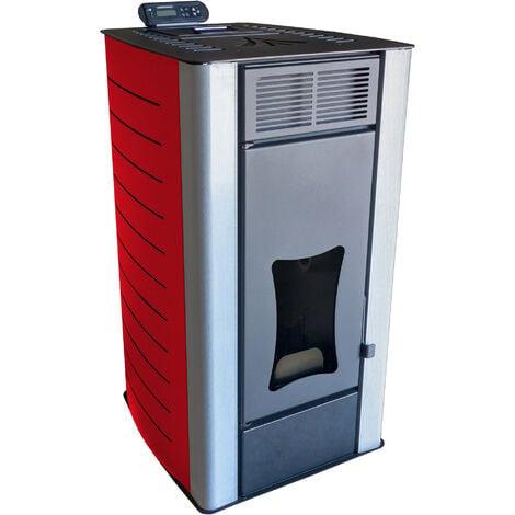 Poêle à granulés à eau Nemaxx PW18-RD Poêle à pellets de bois en acier rouge, puissance 18 kW, rendement 90,8%, 300m³ capacité de chauffage, avec télécommande