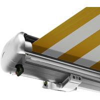Store banne motorisé de NEMAXX avec LED, coloris de la toile jaune-blanc, couleur de la structure blanche, télécommande, imperméable à l'eau, 3x2,5m