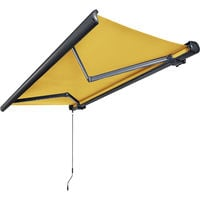 Store banne motorisé de NEMAXX avec LED, coloris de la toile jaune, couleur de la structure anthracite, télécommande, imperméable à l'eau, 4x3m