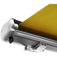 Store banne motorisé de NEMAXX avec LED, coloris de la toile jaune, couleur de la structure blanche, télécommande, imperméable à l'eau, 4x3m