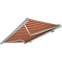 Store banne motorisé de NEMAXX avec LED, coloris de la toile beige-orange, couleur de la structure blanche, télécommande, imperméable à l'eau, 4x3m