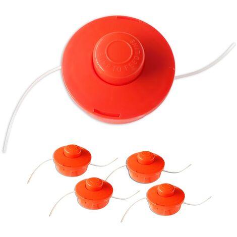 4x Nemaxx FS1 cabezal de doble hilo semiautomático - cabezal de corte de siega -accesorios de corte - hilo de nylon - carrete para desbrozadora gasolina – naranja