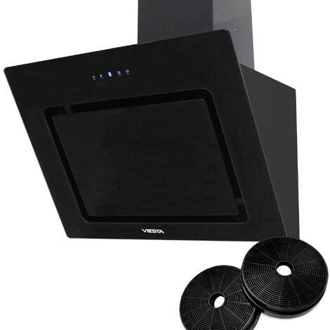 VIESTA DH600XD Campana de cocina 60cm incluido filtro de carbono activo - Campana extractora 230W / Sensor de control táctil, iluminación LED, hecho de acero y cristal negro