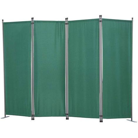 Biombo, pantalla de privacidad, 4 plegable, pared de jardín, marcadores laterales de acero y poliéster (Verde)