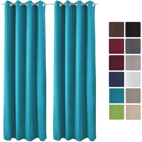 Beautissu Lot de 2 Rideaux Thermique opaque à oeillet Amelie 140x245 cmTurquoise