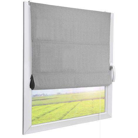 Sol Royal RA3 Store Bateau sans perçage Store Romain Store Bateau Gris Store fenêtre avec Support sans perçage 40cm, 130cm