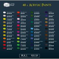 Artina - Lot de 48 Peintures Acryliques Crylic Premium – 48 Tubes de 22 ML, 48 Couleurs