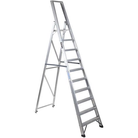 Escalera industrial de Aluminio tijera un acceso 10 peldaños SERIE XL