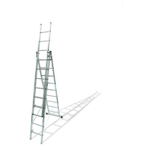 Escalera industrial de Aluminio triple tijera un acceso con tramo extensible 15 x 3 peldaños SERIE ROBUST