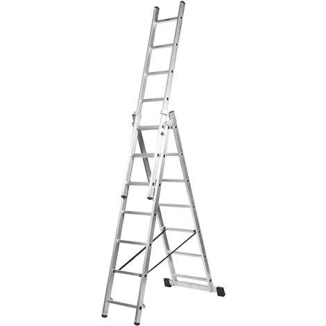 Escalera profesional de Aluminio triple tijera un acceso con tramo extensible SERIE TRIPLE 3 x 7 peldaños