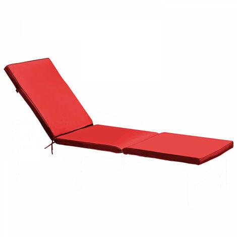 Coussin bain de soleil 186x53x5cm Picchu - Rouge - Rouge