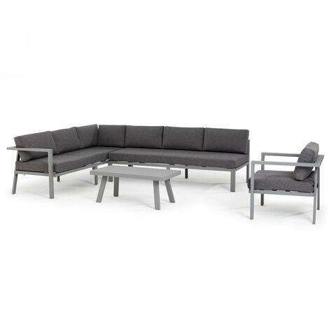 Salon de jardin 6 places aluminium canapé d'angle et fauteuil Saint Tropez - Gris - Gris