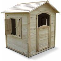 Maisonnette en bois cabane enfants - Marron - Marron