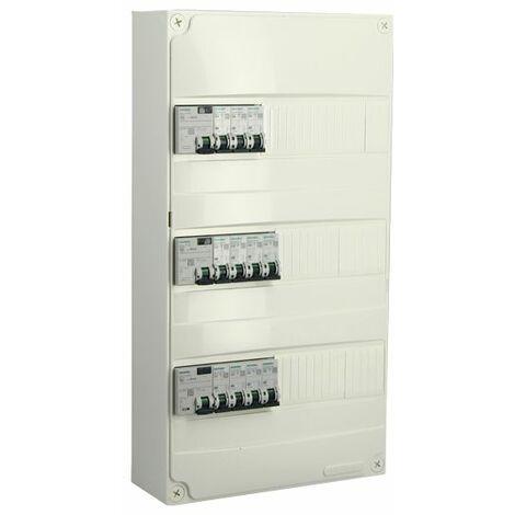 Tableau électrique pré-équipé 3 rangées 39 modules 11 disjoncteurs 3 interrupteurs différentiels NFC 15-100 - SIEMENS