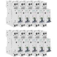 Lot de 10 Disjoncteurs électriques phase + neutre 10A - SIEMENS