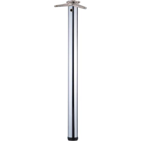 Tischbein / Stützfuß - Chrom, Ø 6 cm x 82 cm, höhenverstellbar