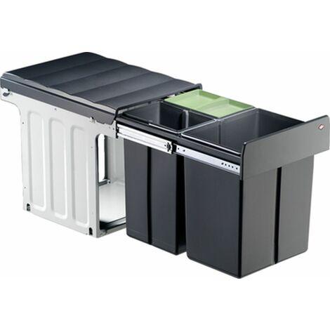 Wesco Einbau-Abfallsammler Profiline Bio-Trio-Maxi 40DT - 40 Liter (20 + 2x10 Liter), anthrazit/ silber, ab 40er Schrankbreite, mit Vollauszug