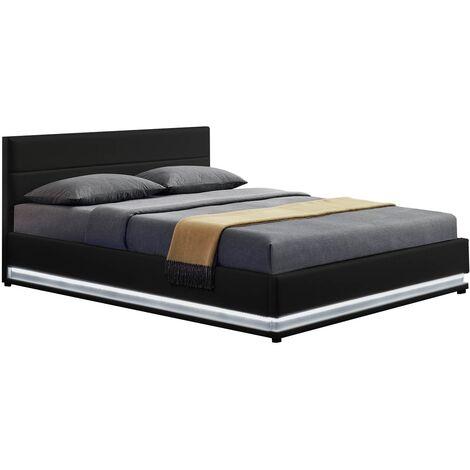 Lit New York - Structure de lit en PU Noir avec rangements et LED intégrées - 140x190 cm