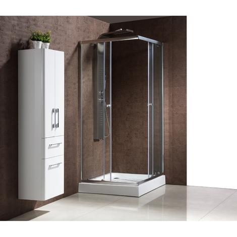 Dolce : Paroi de douche d'angle : l 90 X L 90 X H 198 cm, receveur inclus, structure en aluminium haute qualité