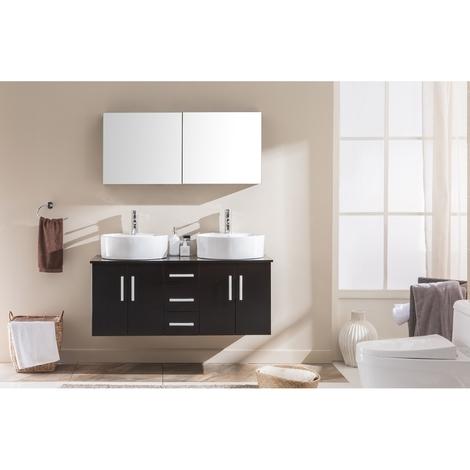 Ambre Wengé : ensemble salle de bain meuble + 2 vasques + 1 miroir