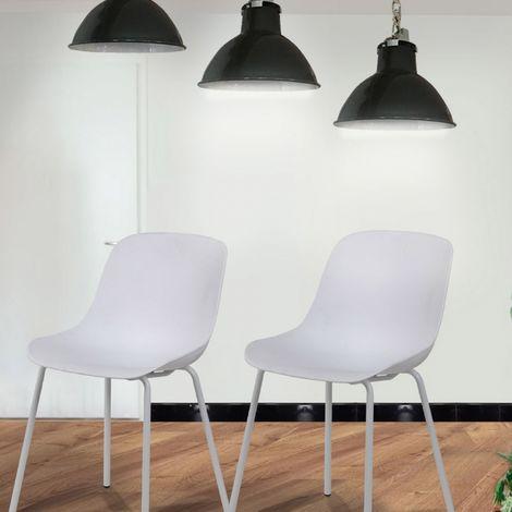 Lot de 2 chaises blanc & métal - Sara