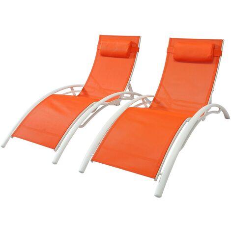 Bahia Orange/Blanc x2 : lot de 2 transats empilables et ajustables en aluminium et textilène