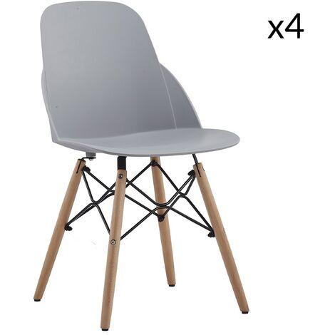 Julie - Lot de 4 chaises scandinaves gris clair