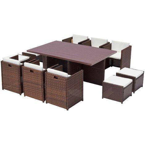 Monaco 10 Salon De Jardin Encastrable 10 Places En Resine Tressee Noir Gris 221872