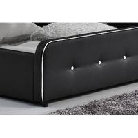 Lit London - Structure de lit capitonnée Noir avec coffre de rangement intégré - 160x200 cm