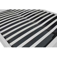Lit Newington - Structure de lit capitonnée Blanc avec coffre de rangement intégré - 160x200 cm
