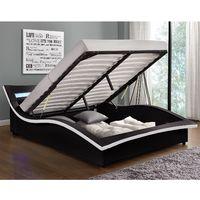 Lit Camden - Structure de lit en PU noir avec coffre et LED intégrées - 160x200 cm