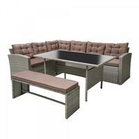 Moorea Salon de jardin résine gris & café 8 places