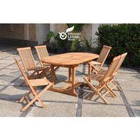 Kajang : Salon de jardin Teck massif 6 personnes - Table ovale + 6 ...