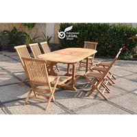 Kajang : Salon de jardin Teck massif 8 personnes - Table ovale + 8 ...