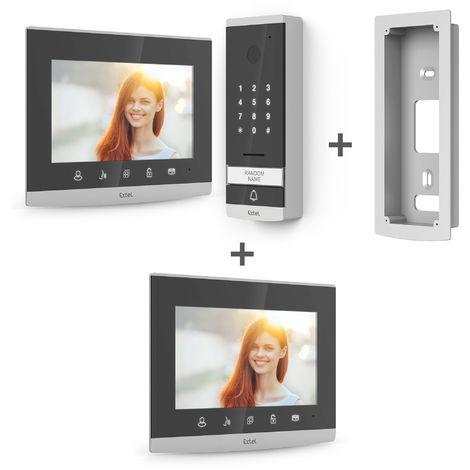 Visiophone filaire EXTEL Code 7 pouces / 18cm avec clavier à code intégré - Visiophone + écran supplémentaire