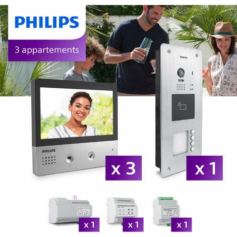 Interphone vidéo Philips Welcome Hive PRO pour 3 appartements - .