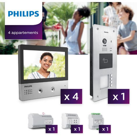 Interphone vidéo Philips Welcome Hive PRO pour 4 appartements - .