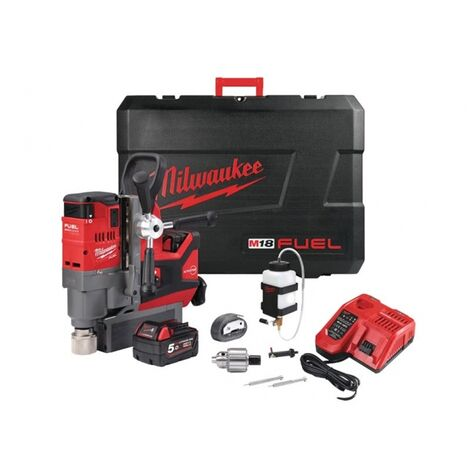 Milwaukee M18FMDP-502C 18V Magnetic Drill Press Kit (2 x 5.0Ah RedLithium-Ion Batteries, Charger & Case)