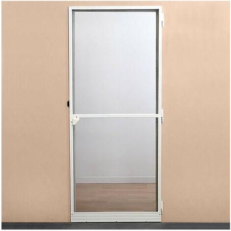 Moustiquaire porte battante - H220 cm x L100 cm - Aluminium blanc