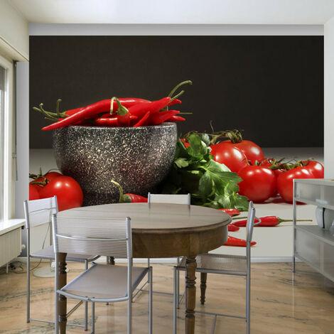 Papier peint - Tomates et piments rouges 200x154