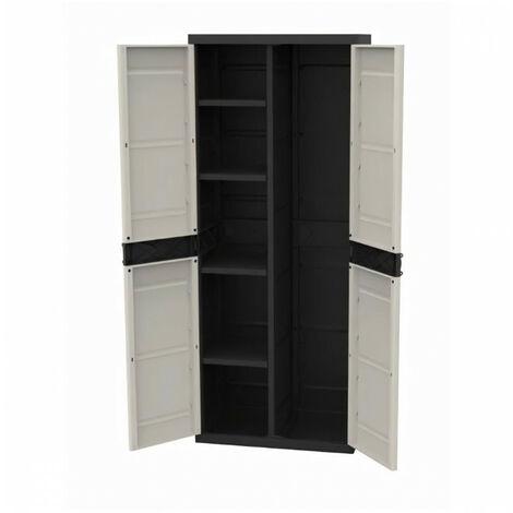 TITANIUM PLASTIKEN Armoire 2 portes avec étageres et penderie l70 x p44 x h176 cm Beige et Noire Gamme TITANIUM Intérieur/Ext…